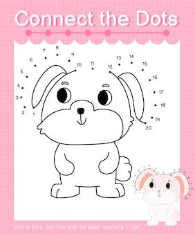 Connect the dots rabbit - jeux de point à point pour les enfants comptant le nombre 1-20