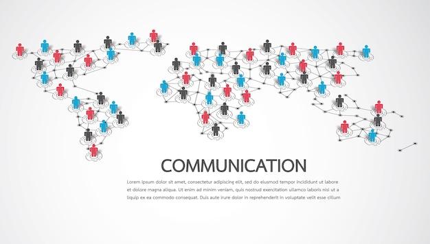 Connecter les gens avec le point de la carte du monde