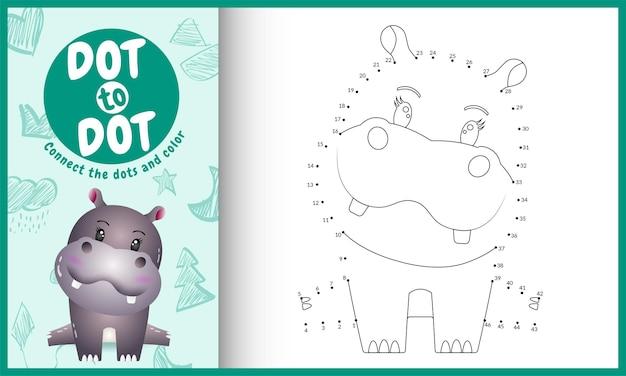 Connectez le jeu et la page de coloriage pour enfants dots avec un joli personnage d'hippopotame