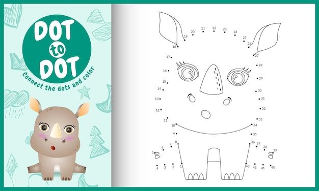Connectez le jeu et la page de coloriage pour enfants dots avec un joli personnage de rhinocéros