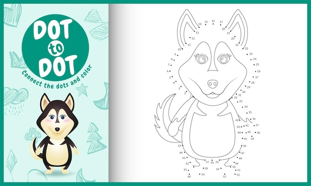Connectez le jeu et la page de coloriage pour enfants dots avec un personnage de chien husky mignon