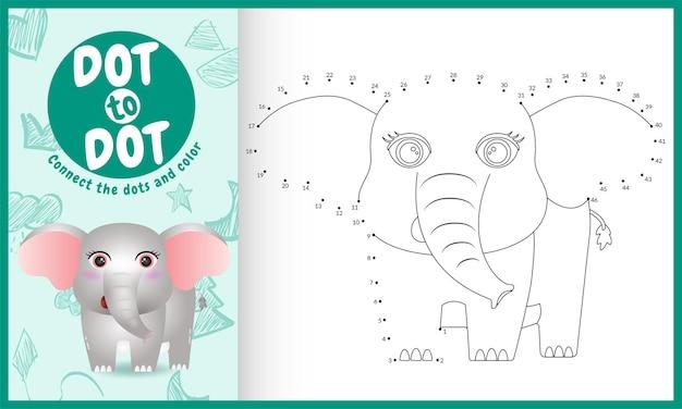 Connectez le jeu et la page de coloriage pour enfants dots avec un personnage d'éléphant mignon