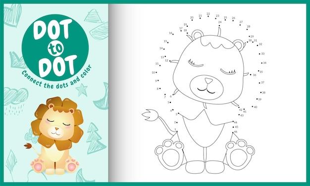 Connectez le jeu et la page de coloriage pour enfants dots avec un personnage de lion mignon