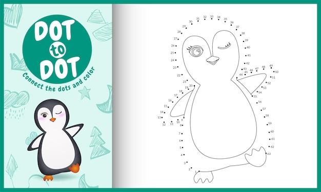 Connectez le jeu et la page de coloriage pour enfants à points avec une illustration mignonne de personnage de pingouin