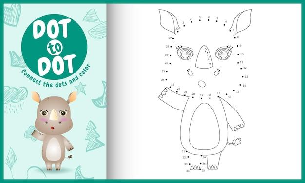 Connectez le jeu et la page de coloriage pour enfants points avec une illustration de personnage de rhinocéros mignon