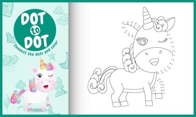 Connectez le jeu et la page de coloriage pour enfants points avec une jolie illustration de personnage de licorne