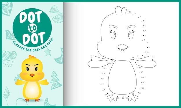 Connectez le jeu pour enfants de points avec une illustration de personnage de poussin mignon