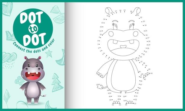 Connectez le jeu pour enfants points avec une jolie illustration de personnage d'hippopotame