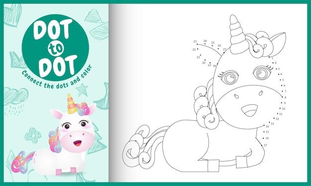 Connectez le jeu pour enfants points avec une jolie illustration de personnage de licorne