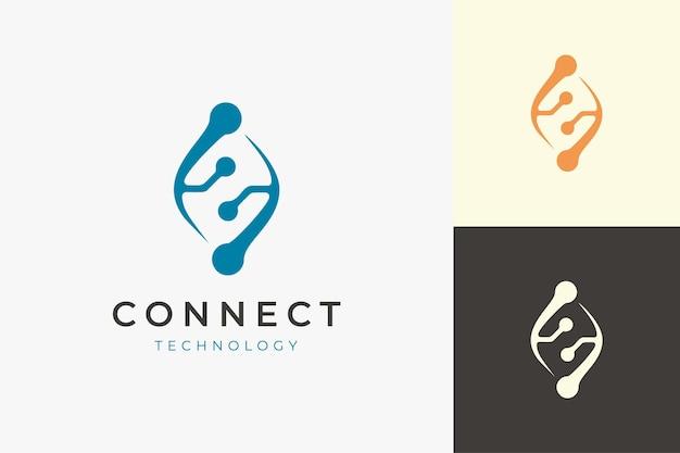 Connectez le logo de la technologie en forme abstraite