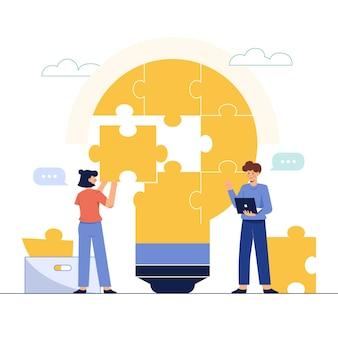 Connectez les pièces de puzzle en forme d'ampoule
