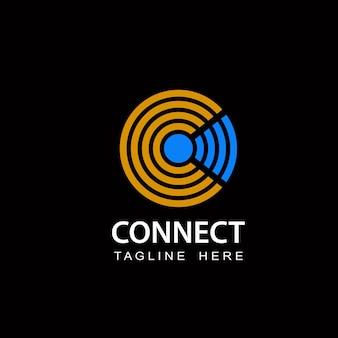 Connectez le vecteur de conception de modèle de technologie de logo