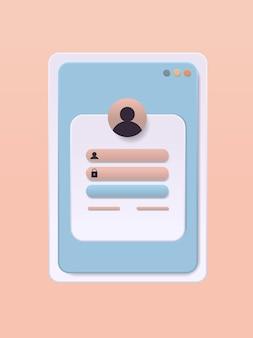 Connectez-vous au compte utilisateur autorisation de connexion page d'authentification nom d'utilisateur et mot de passe concept d'enregistrement en ligne
