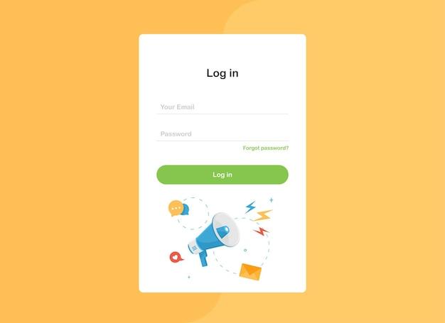 Connectez-vous au formulaire de modèle de page de destination avec un mégaphone au design plat