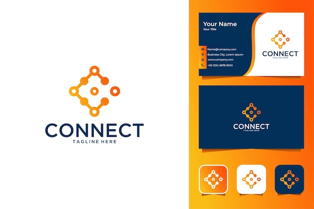 Connectez-vous avec la conception de logo moderne et la carte de visite de la lettre c