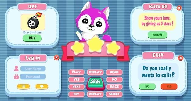 Connectez-vous, évaluez-nous, achetez et quittez le menu contextuel avec des boutons et un chat