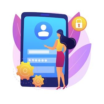 Connectez-vous à l'illustration de concept abstrait de page. entrez l'application, l'écran mobile, le formulaire de connexion de l'utilisateur, l'interface de la page du site web, l'interface utilisateur, l'enregistrement d'un nouveau profil, le compte de messagerie.