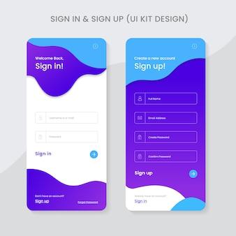 Connectez-vous et inscrivez-vous ui kit app design premium