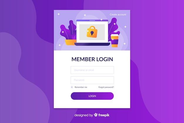Connectez-vous à la page d'arrivée avec des icônes