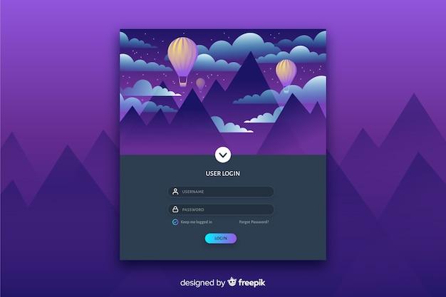 Connectez-vous à la page d'atterrissage avec paysage plat coloré