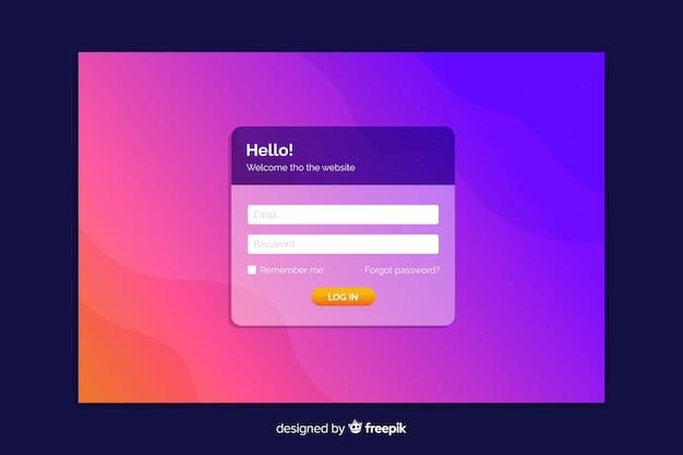 Connectez-vous à la page de destination dégradé violet