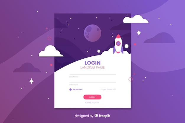 Connectez-vous à la page de destination avec un design plat