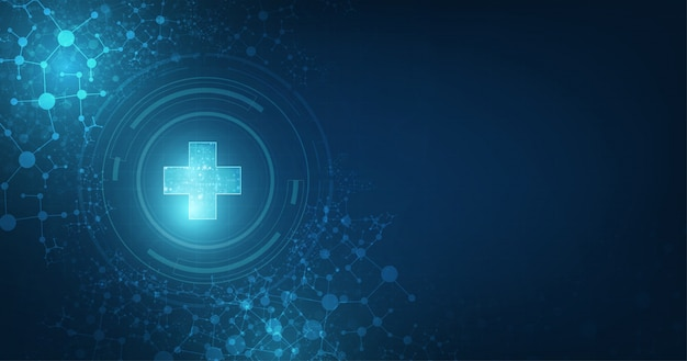 Connectivité globale médicale abstraite adaptée à la santé et au sujet médical sur fond de couleur bleu foncé