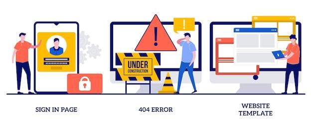 Connexion au concept de modèle de site web de page avec illustration de personnes minuscules