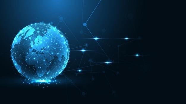 Connexion au réseau mondial carte du monde abstrait technologie arrière-plan entreprise mondiale innovation