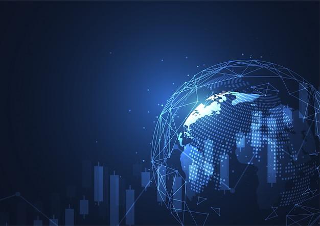 Connexion au réseau mondial. composition du point et de la ligne de la carte du monde