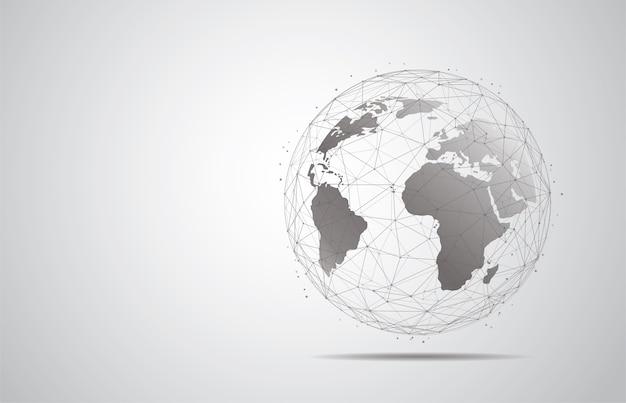 Connexion au réseau mondial. composition de points et de lignes de carte du monde