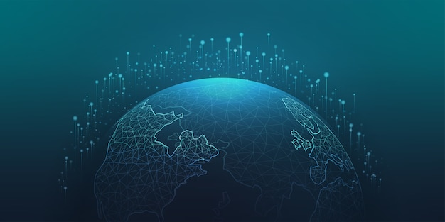 Connexion au réseau mondial. point de la carte du monde, ligne, composition, représentant la technologie mondiale.