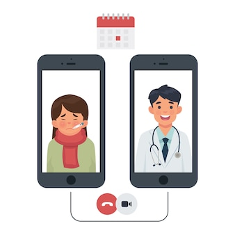 Connexion entre le patient et le médecin par téléphone