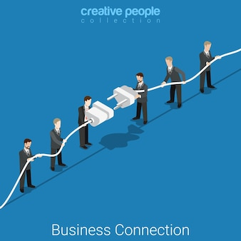 Connexion entreprise concept de partenariat isométrique plat deux groupes de micro hommes d'affaires connectant une grande prise et une prise.