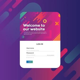 Connexion formulaire page concept abstrait dégradé forme vibrante fond moderne. modèle de site web, élément ui ux, illustration