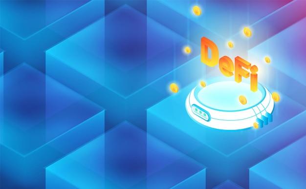 Connexion Hologramme Futuriste Defi Blockchain. Futur Concept.vector Et Illustration Vecteur Premium