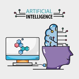 Connexion informatique tecnology avec intelligence artificielle