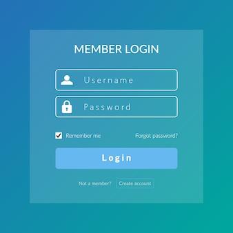 Connexion à l'interface utilisateur et à l'expérience utilisateur pour la connexion web dans un modèle de conception vectorielle