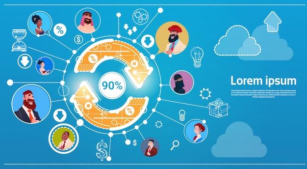 Connexion internet homme d'affaires et femme arrow finance concept succès