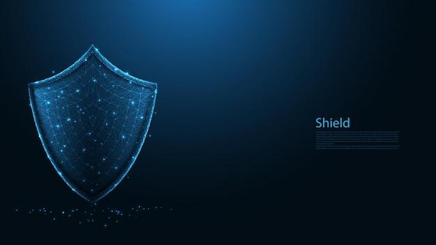 Connexion ligne gard sheild. conception filaire low poly. protéger et sécuriser le concept numérique. abstrait géométrique. illustration vectorielle.