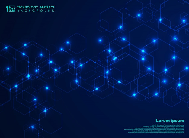 Connexion de modèle abstrait futuriste complexe forme hexagone en arrière-plan bleu de la technologie