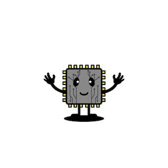 Connexion de puce de technologie mignon processeur vector illustration