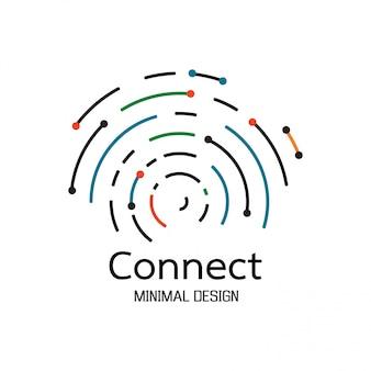 Connexion réseau abstraite. création de logo d'icône