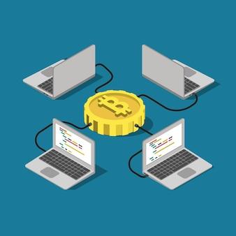 Connexion réseau bitcoin en ligne minière plat