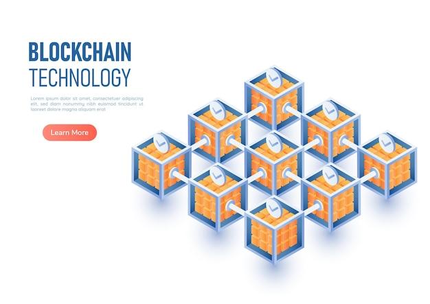 Connexion réseau blockchain de bannière web isométrique 3d. technologie blockchain et concept de crypto-monnaie.
