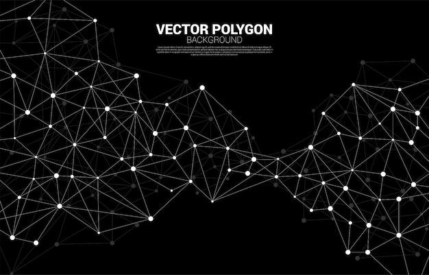 Connexion réseau fond polygone point. concept de réseau commerce, technologie, données et produits chimiques. le fond abstrait de la ligne de connexion représente le réseau futuriste et la transformation des données