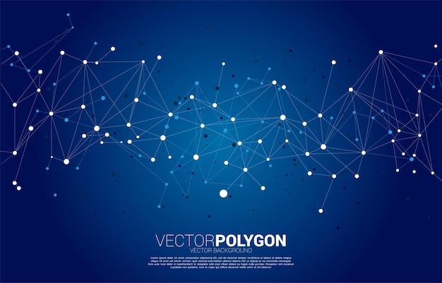 Connexion réseau fond de polygone de points. concept de technologie de réseautage et de style futuriste.