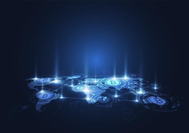 Connexion réseau globale. bitcoin crypto currency
