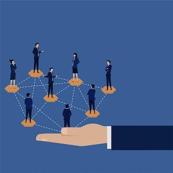 Connexion réseau globale de l'équipe commerciale.