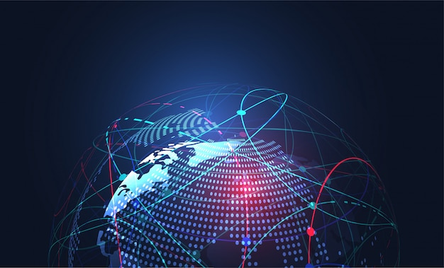 Connexion réseau globale. fond de carte du monde